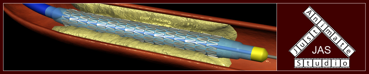 Vascular Stent and Just Animate Studio Logo